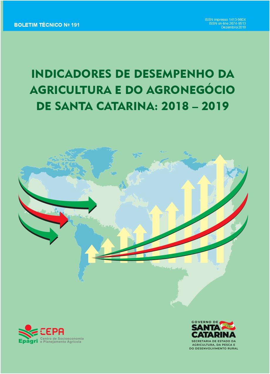 Visualizar n. 191 (2019):  Indicadores de desempenho da agropecuária e do agronegócio de Santa Catarina: 2018 e 2019